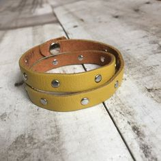 Double Wrap Mustard Yellow Leather Bracelet with Silver Rivet details and Snap Closure - Leather Wrap Bracelet - Womens Bracelet by orangeandprairie on Etsy