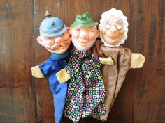 vintage hand puppets  punch and judy puppets door ProfessorVintage, €15.00