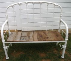 Gorgeous bench from an iron bed.