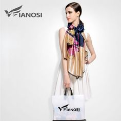[VIANOSI] 2016 Fashion bandana Luxury Scarve Woman Brand Silk Scarf Women Shawl High Quality Print hijab VA018