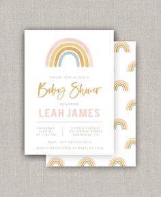 Rainbow Baby Shower Invitation | Etsy Rainbow Birthday Invitations, Rainbow Birthday Party, Rainbow Theme, Rainbow Baby, Baby Shower Invitations, 4th Birthday, Invites, Birthday Ideas, Birth Announcement Template