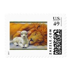 Lion Shall Lie With Lamb Religious Postage Stamp