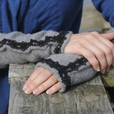 Easy DIY tutorial to repurpose a beloved old sweater into fingerless gloves!