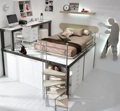 Teen Platform loft bed.  Mason would love this.