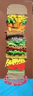 Texture Hamburgers - relief sculpture art project. Elementary or middle school art project.