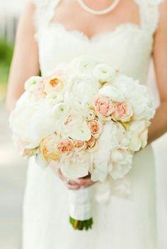 White Peonies, White Ranunculus, Peach Garden Roses & Blush Roses Wedding Bouquet