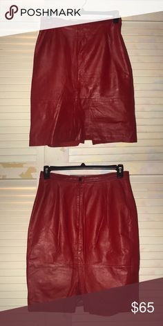 Shop Women's comint Red size Pencil at a discounted price at Poshmark. Zipper and button to the back. Size Sold by Fast delivery, full service customer support. Red Leather Skirt, Vintage Skirt, Pencil, Buy And Sell, Zipper, Button, Best Deals, Womens Fashion, Skirts