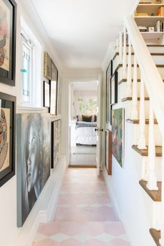 Built in Becca Tobin's LA house has the original floors upstairs, original windows, and an amazing old chandelier in the living room. Tiled Hallway, Tile Stairs, Entry Hallway, Entryway, Becca Tobin, Pink Tiles, Los Angeles Homes, Small House Plans, Guest Bedrooms