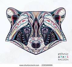 Ethnic Raccoon / African / Indian / Totem / Tattoo Design Stock ...