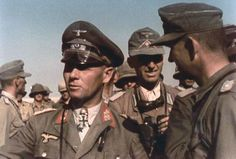 The commander of the Afrika Korps Wehrmacht Lieutenant General E. Rommel with officers Staff