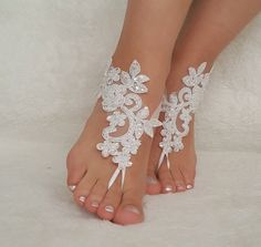 White ivory lace barefoot sandals wedding by BarefootShop
