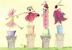 Illustration by Silke Leffler. My sisters and I each have a greeting card with this picture :)