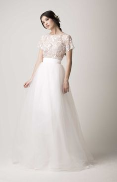2 piece shirt sleeve beaded lace top and long tulle skirt from Babushka Brides.