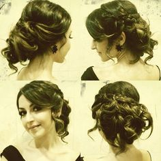 The perfect updo.  Loose curls, romantic side swept, with braid going across.