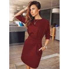 f4777ceb3c36 Dresses · 2018 Hot Summer Autumn Women Fashion Casual Mini Dress Half  Quarter Sleeve Red wine amp Black amp
