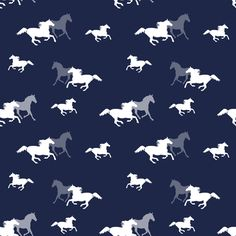 Running Horses on Navy fabric by lintc on Spoonflower - custom fabric