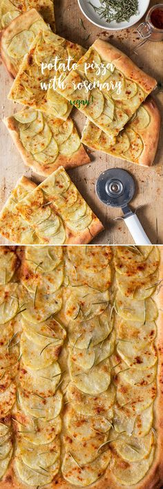 This #Italian #potato #pizza with #rosemary is naturally #vegan and #dairyfree and to die for, especially in colder, #autumn and #winter , weather! #recipe #recipes #vegetarian #italy