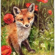 Carolines Treasures Fox Cub by Debbie Cook Flag Canvas House Size Cross Paintings, Animal Paintings, Animal Drawings, Fox Painting, Painting Prints, Fox Art, Cute Fox, Red Fox, Cute Baby Animals