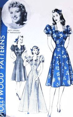 1940s Betty Grable Dress or Gown Pattern Hollywood Patterns 606 Flirty Low Sweetheart Neckline Puff Sleeves Regular or Evening Floor Length Bust 34 Vintage Sewing Pattern