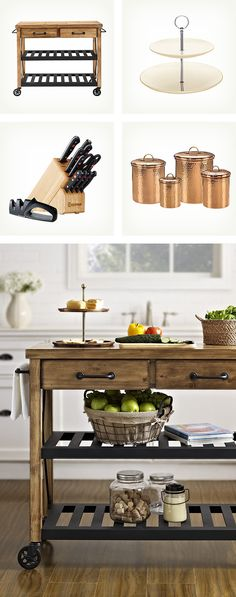 How to style a rustic meets industrial kitchen cart! Pair pieces with a mix of wood and metal textures, like copper canisters with a butcher block knife set. Shop the entire look at Wayfair.com.