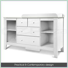 What a clever change table this is, after you're baby has outgrown the 'baby stage' the table converts to a dresser! The change table barrier simply detaches so you can use it as a side board or dresser. Dresser Drawers, Storage Drawers, Locker Storage, Cheap Countertops, Stone Countertops, City Select Double Stroller, Baby Changing Tables, Changing Table Dresser