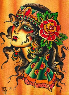 Gypsy Girl by Mikey Sarratt Woman Tattoo Portrait Canvas Art Print – moodswingsonthenet