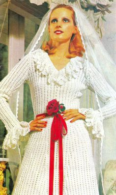 Vintage 70s Crochet  Wedding Dress PDF Pattern - Lace Evening Gown Bride Pattern - UK. $4,99, via Etsy.