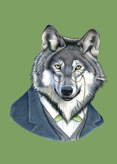 Wolf art print by Ryan Berkley 5x7 van berkleyillustration op Etsy