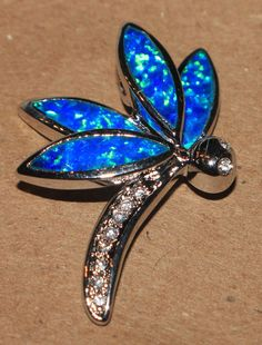 blue fire opal Cz necklace pendant gemstone silver jewelry modern Dragonfly  H69 #Pendant