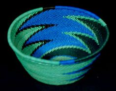 Indigo. African woven Telephone Wire Baskets