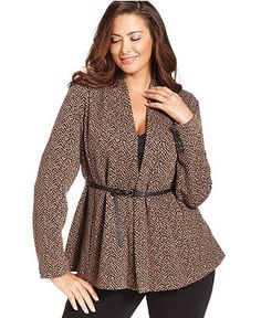 Calvin Klein Plus Size Jacket, Printed Belted