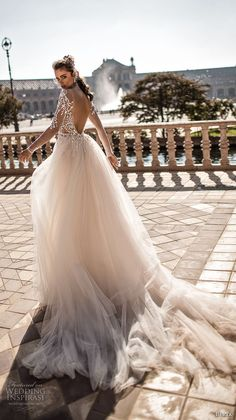 berta fall 2018 bridal long sleeves deep v neck heavily embellished bodice sexy romantic fit and flare mermaid wedding dress a line overskirt open scoop back chapel train (1) bv