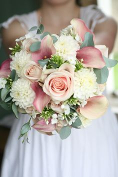 Bouquet of Dahlia, roses, calla lillies, phlox and eucalyptus. Liberty Blooms www.libertyblooms.co.uk