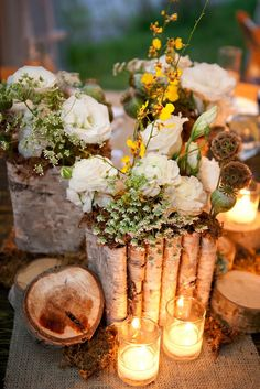 Woodsy Wedding Flowers  Fresh Designs  Lauren Brown Photography
