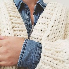 Details. Big cream cardigan & denim shirt #wool #thecardigan #denim #handmade #heartworking #knitwear #cream #australia #ilovemrmittens  (at I love Mr.Mittens studio )