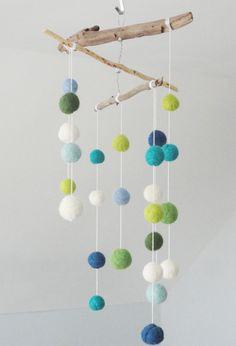 Handmade Driftwood Drift Wood Baby Boy Nursery Mobile with Felt Balls Woodland Theme Greens Blues Free Shipping by goodwoodness on Etsy https://www.etsy.com/listing/235293535/handmade-driftwood-drift-wood-baby-boy