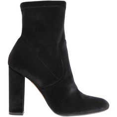 Steve Madden Women 100mm Editt Stretch Velvet Ankle Boots (2.545 ARS) ❤ liked on Polyvore featuring shoes, boots, ankle booties, black, black boots, velvet booties, black velvet boots, black bootie boots and high heel ankle boots