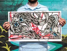 INSIDE THE ROCK POSTER FRAME BLOG: Graffiti Artist Malt's Splitting Atoms Series of Prints and Originals on sale