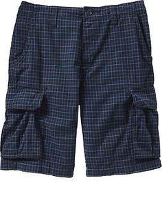 "Men's Plaid Broken-In Cargo Shorts (10 1/2"")   Old Navy"
