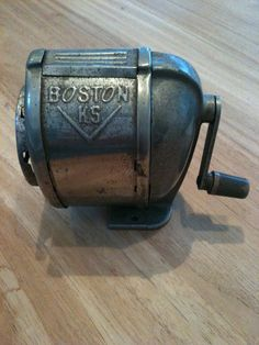 vintage pencil sharpener. I used to break my lead so I could get up & sharpen my pencil, whispering to a friend on the way.