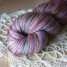 One of a kind lusciousness in a laceweight yarn - hand dyed by Phydeaux Designs in Autumn-tinted florals.  More than enough yardage for a large lace shawl.  :)