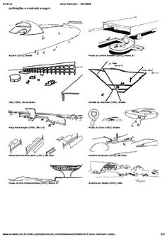 O processo de criação de Oscar Niemeyer através de croquis e de textos. Oscar Niemeyer, Architecture Sketches, Architecture Design, Buildings, House, Concept, Shapes, Drawing, Illustration Techniques