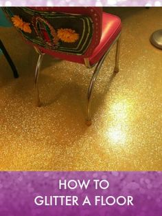 In the process of redoing our art studio, I wanted to go big and sparkly. We ripped up the icky carpet and found smooth concrete underneath. Painted Bathroom Floors, Painted Concrete Floors, Painting Concrete, Stained Concrete, Glitter Floor, Glitter Grout, Glitter Paint, Glitter Gif, Diy Flooring