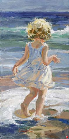 Hierher kommen von Corinne Hartley Oil ~ 24 x 12 - Pinturas - Kunst Painting People, Figure Painting, Painting & Drawing, Art Plage, Beach Art, Oeuvre D'art, Art Oil, Love Art, Painting Inspiration