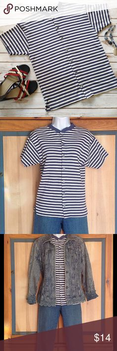 Versatile Button Down Blue & White Striped Shirt 100% cotton t-shirt, great with jeans. Measures 18 inches across from armpit to armpit and 24 inches in length. Nordstrom Town Square Tops Tees - Short Sleeve