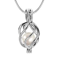 Women 925 Sterling Silver Twisted Locket Pendant Necklace with 6-7mm Round Akoya Pearl ** Click on the image for additional details.