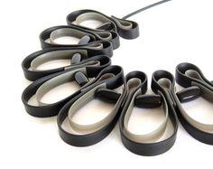 geometric necklace, urban fashion, rubber necklace, black and  titanium gray necklace, bib necklace