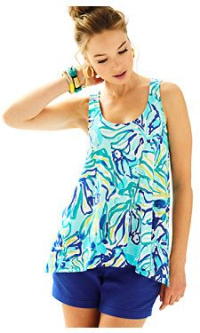 Monterey Tank Top in Pool Blue Stay Cool | Lilly Pulitzer
