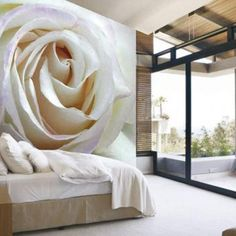 White Rose Mural by Walls Republic. Wall Murals Bedroom, Bedroom Decor, Bedroom Ideas, Floor Murals, Wall Art Wallpaper, Rose Wall, Modern Room, White Roses, Girls Bedroom