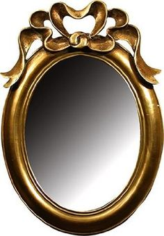 beautifully ornate antique gold shabby chic style oval wall mirror with bow top height